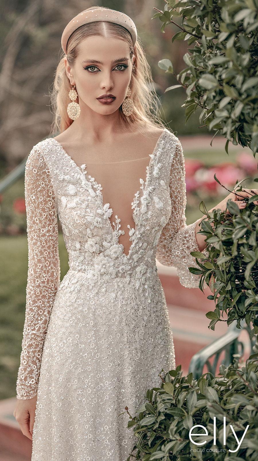 elly bride 2021 los angeles bridal long sleeves deep v neck full embellishment elegant romantic a  line wedding dress low scoop back short train (sharon) mv zv