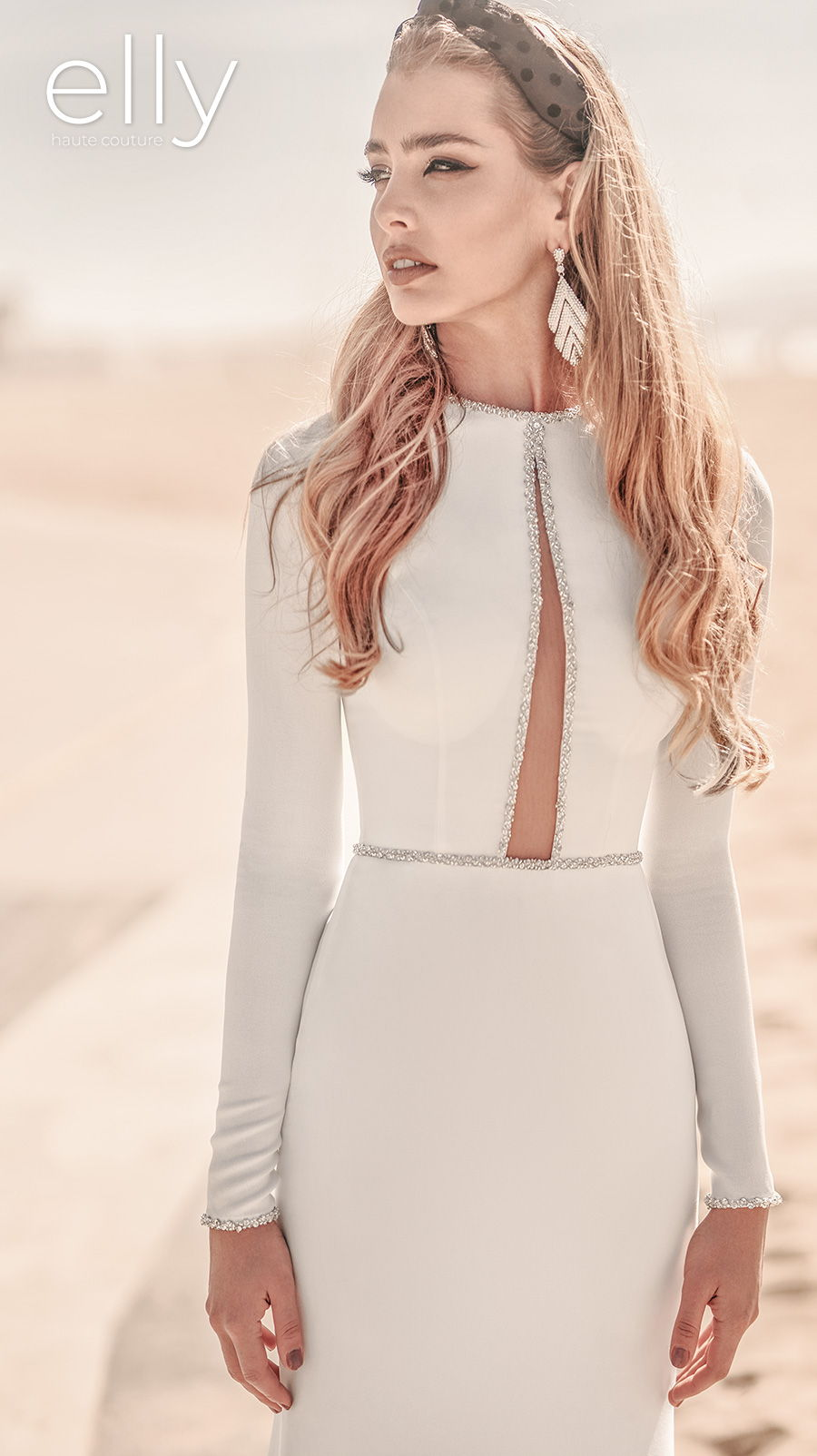 elly bride 2021 los angeles bridal long sleeves jewel neck simple minimialist slit bodice modern chic sheath wedding dress sweep train (vanessa) mv zv