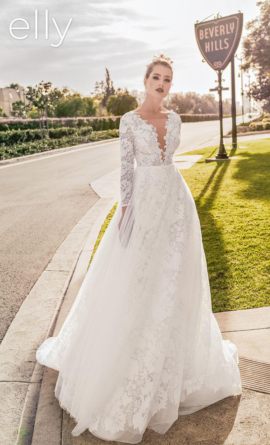 elly bride 2021 los angeles bridal long sleeves v neck ful embellishment romantic a  line wedding dress scoop back chapel train (shirley) mv