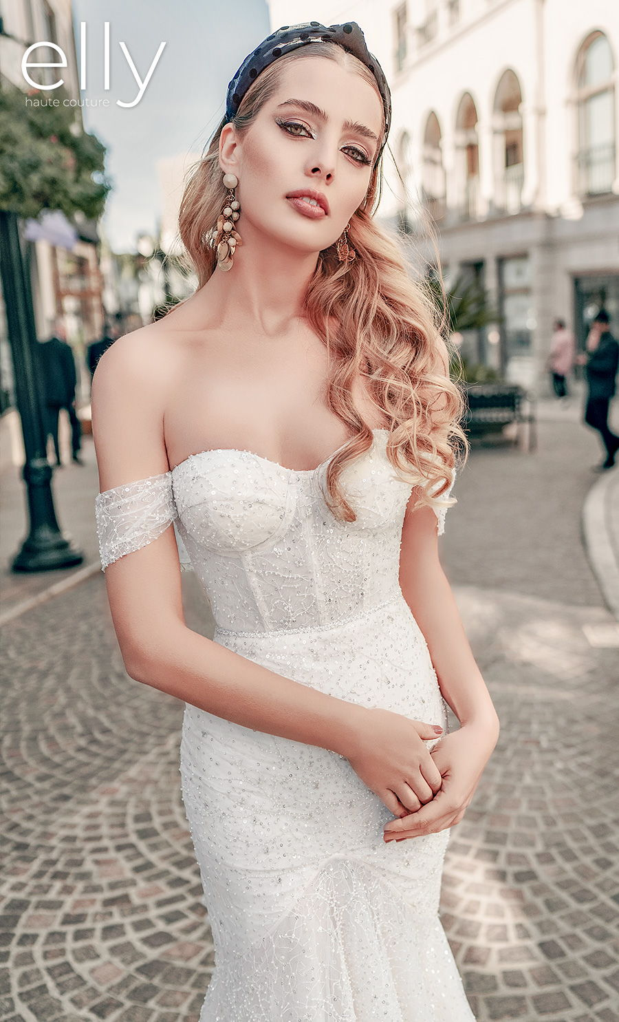 elly bride 2021 los angeles bridal off the shoulder sweetheart neckline full embellishment buster glitter glamorous mermaid wedding dress mid back chapel train (greta) zv mv