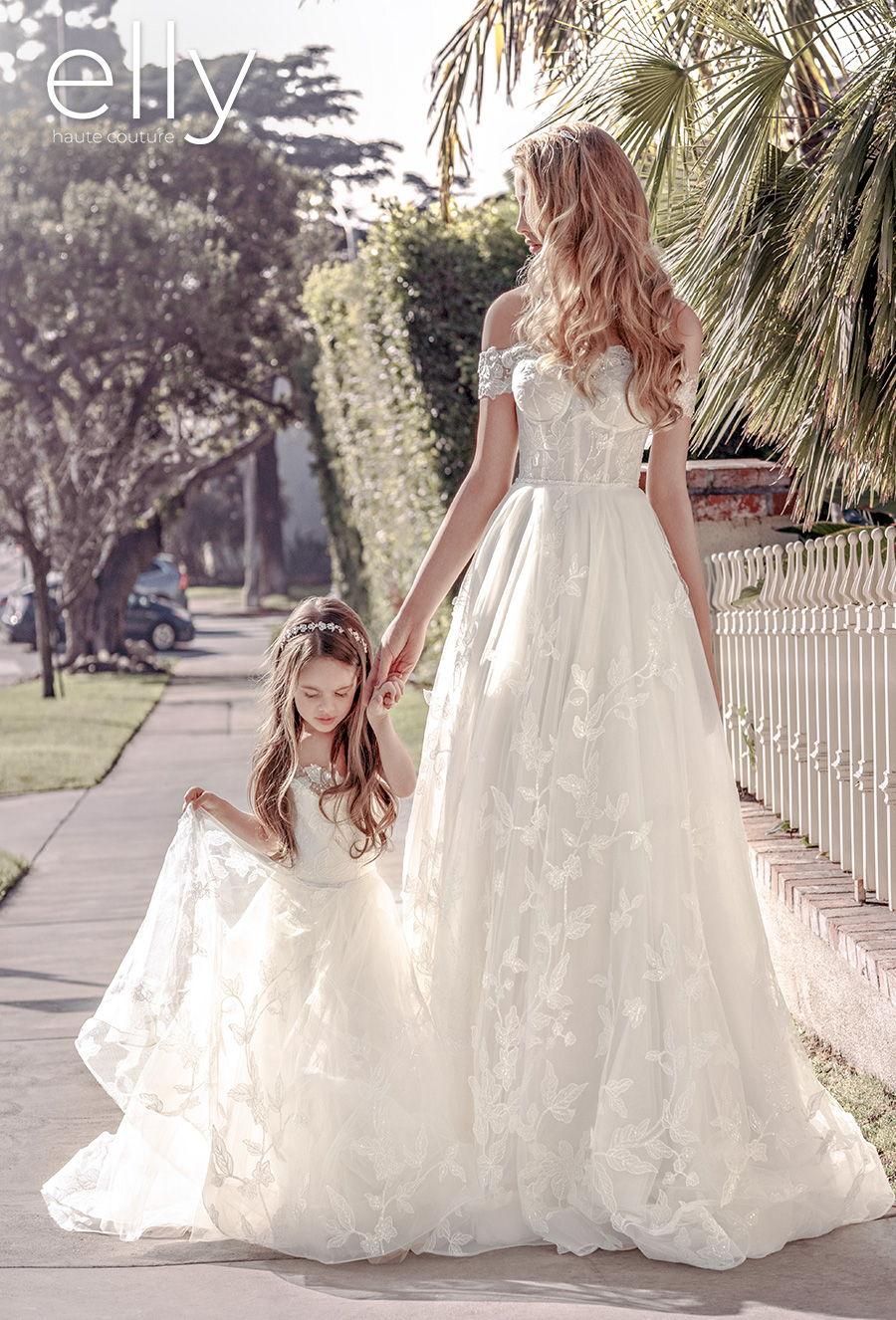 elly bride 2021 los angeles bridal off the shoulder sweetheart neckline heavily embellished bodice bustier romantic a  line wedding dress mid back chapel train (rita) mv