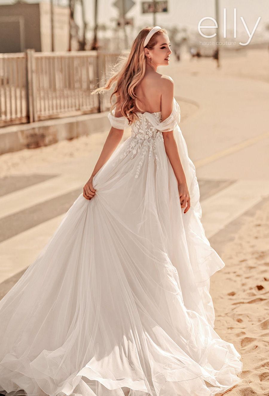 elly bride 2021 los angeles bridal off the shoulder sweetheart neckline heavily embellished bodice bustier romantic a  line wedding dress mid back medium train (catherine) bv