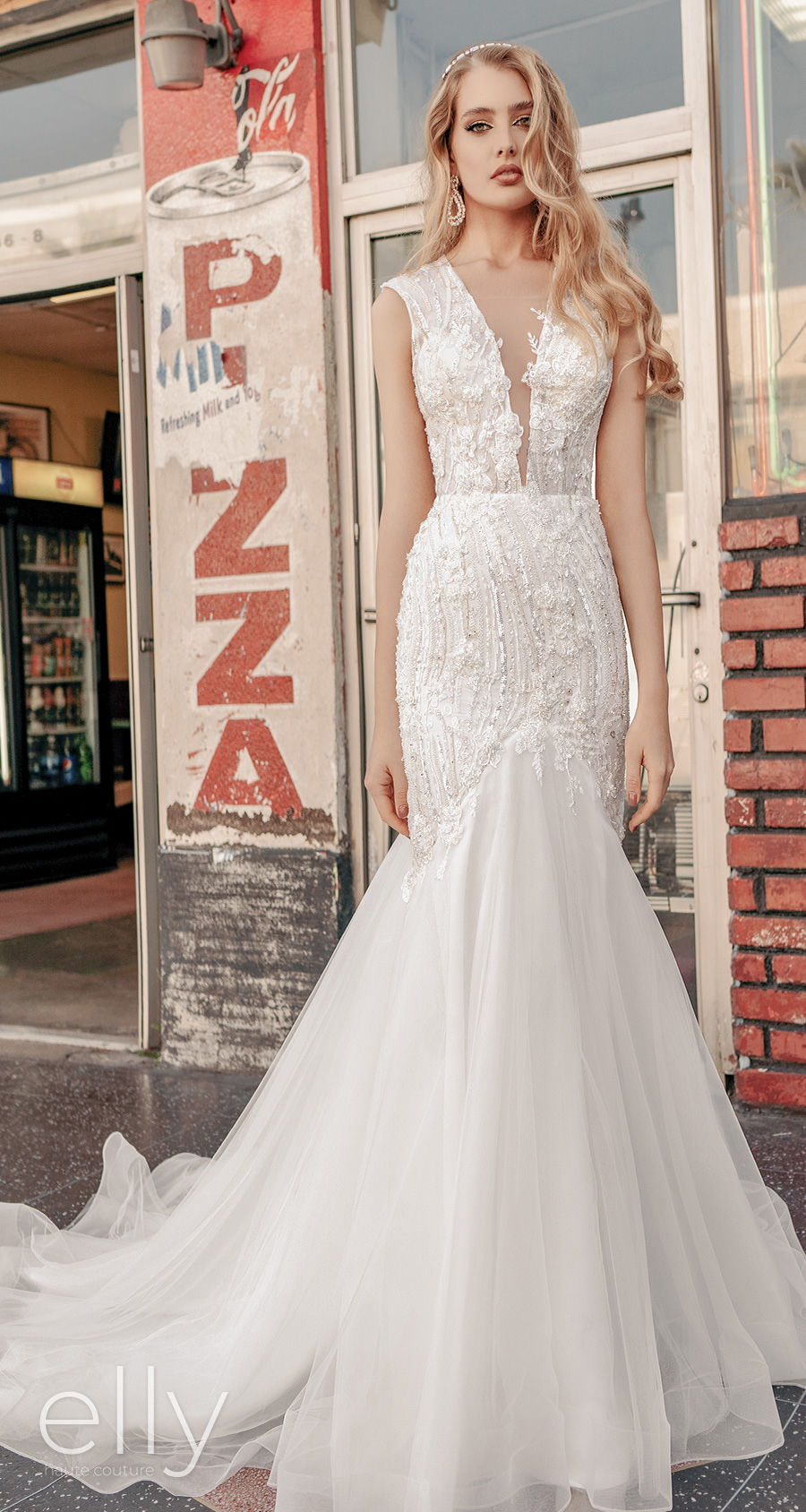 elly bride 2021 los angeles bridal sleeveless deep v neck heavily embellished bodice glamorous mermaid wedding dress covered back chapel train (adeline) mv