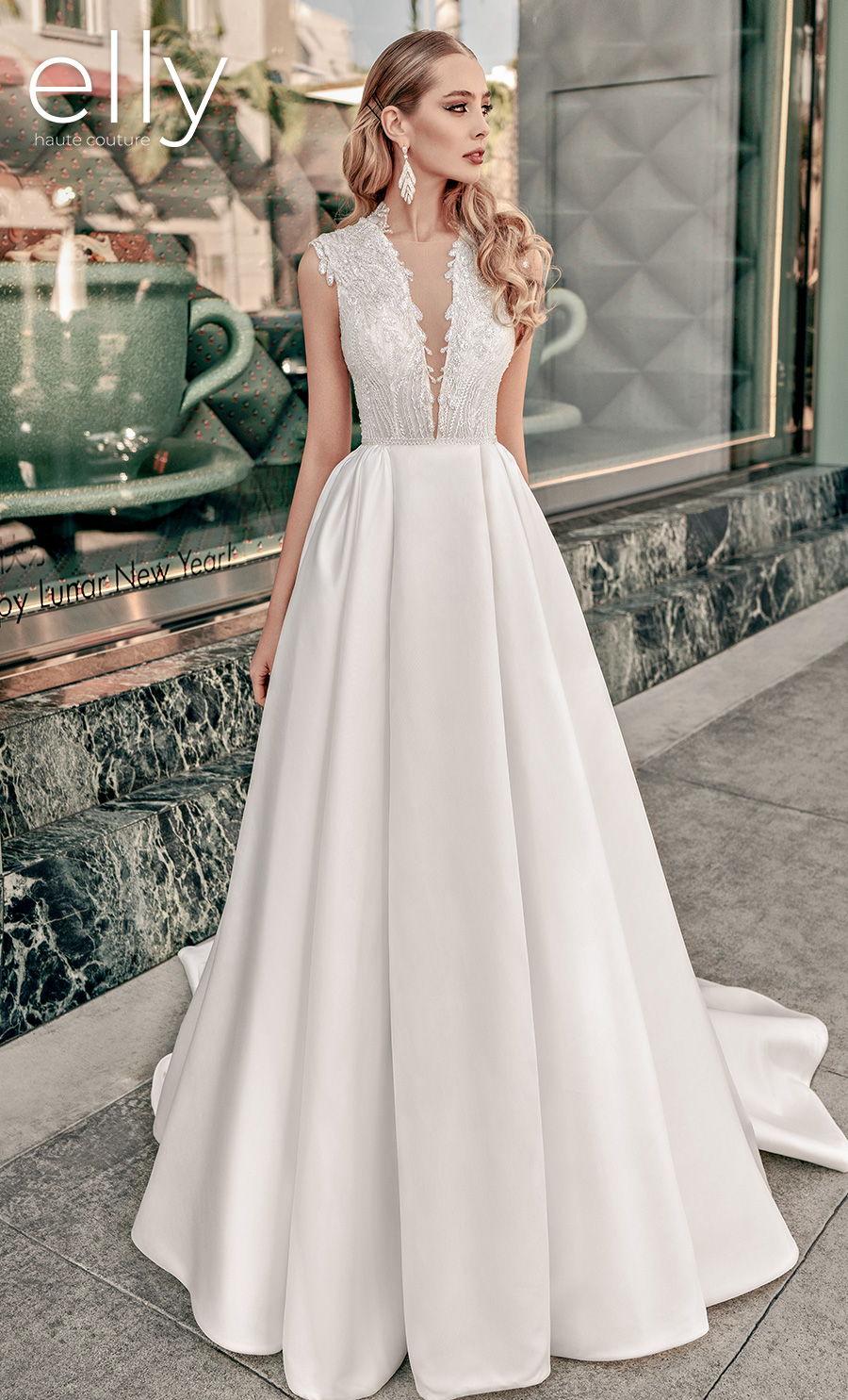 elly bride 2021 los angeles bridal sleeveless deep v neck heavily embellished bodice glitter glamorous a  line wedding dress covered back chapel train (siena) mv fv