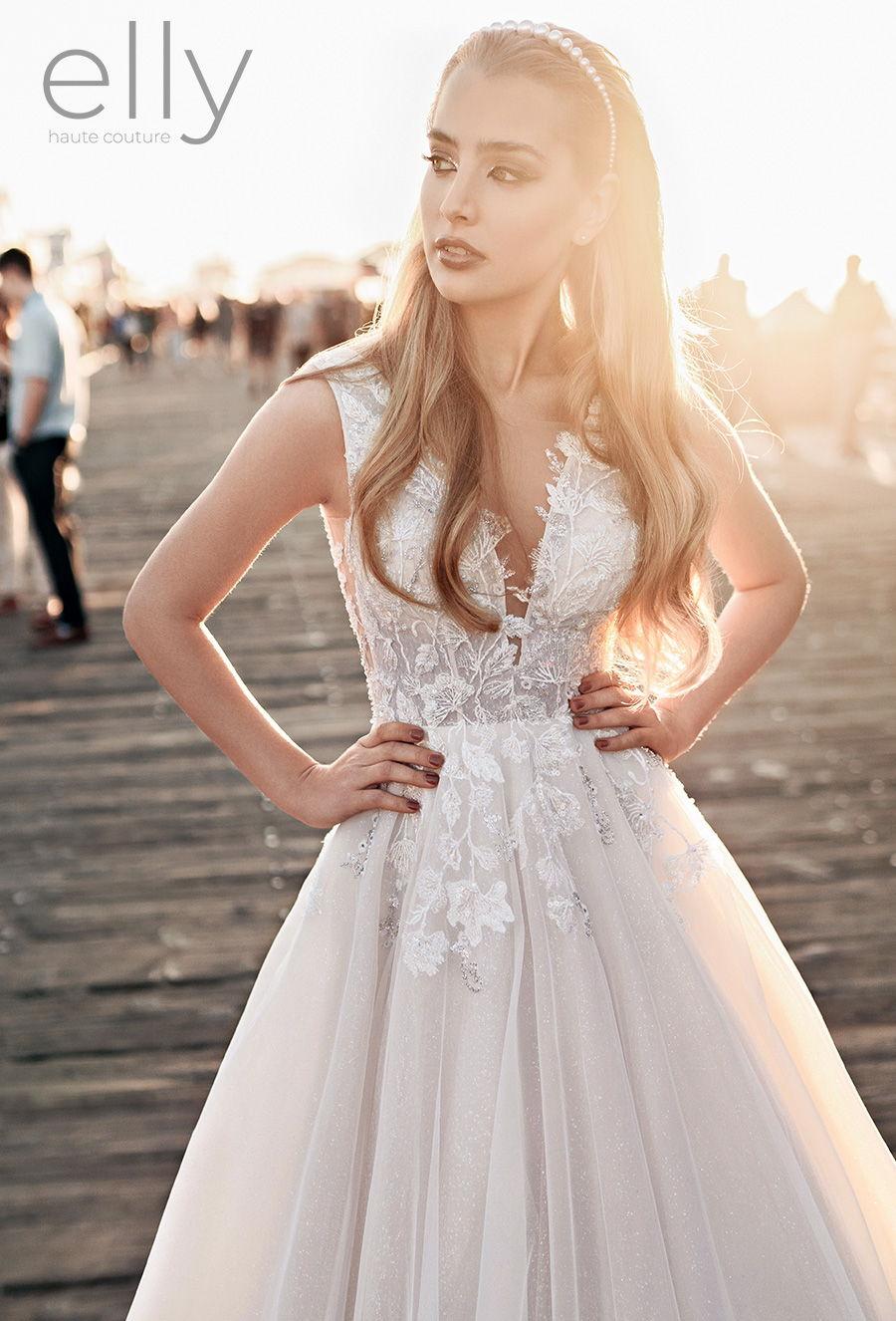 elly bride 2021 los angeles bridal sleevelss deep v neck heavily embellished bodice romantic a  line wedding dress low v back chapel train (julianne) zv mv