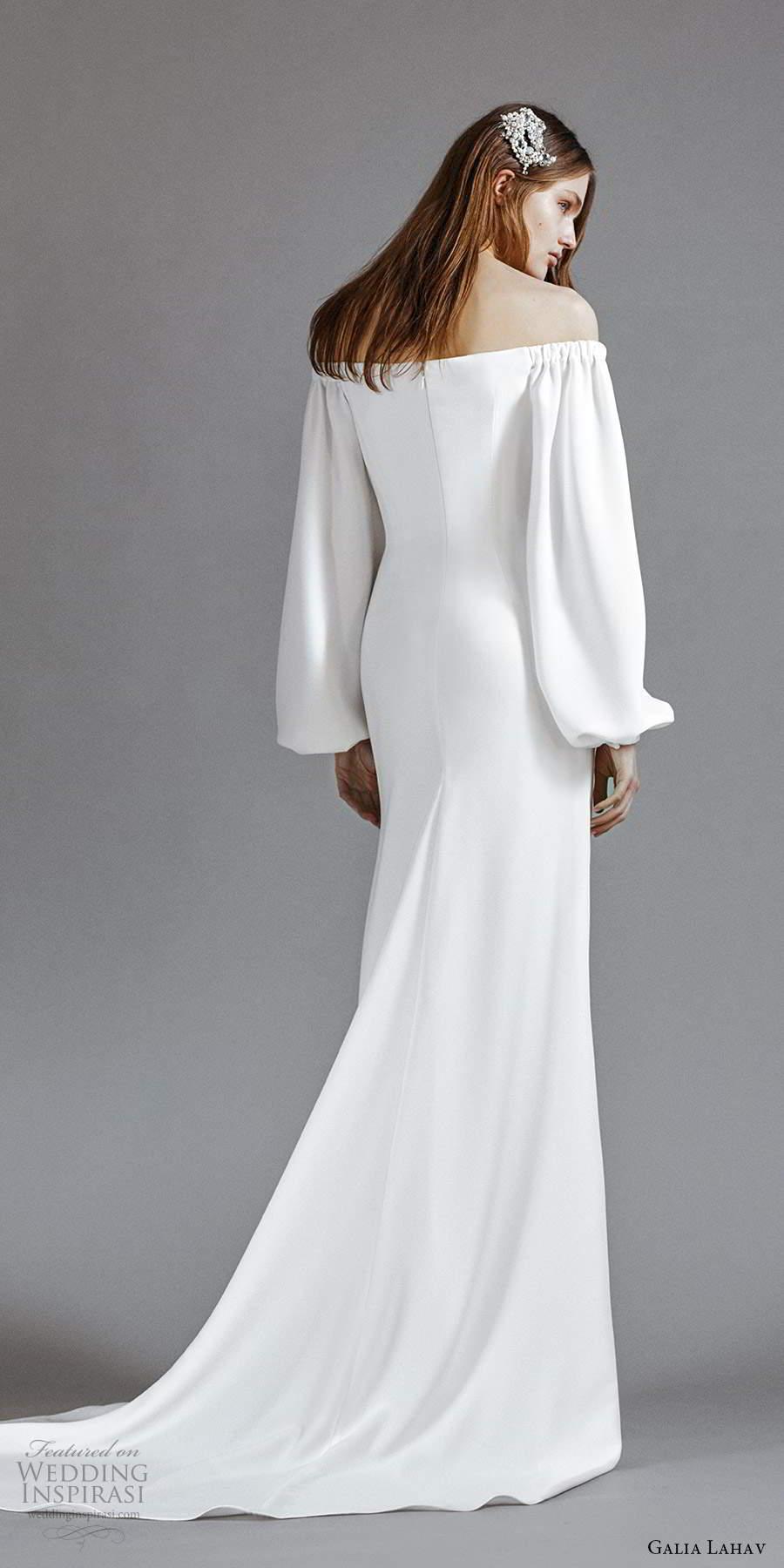galia lahav 2021 rtw bridal long bishop sleeveso off shoulder straight across neckline clean minimalist modified a line wedding dress sweep train (7) bv