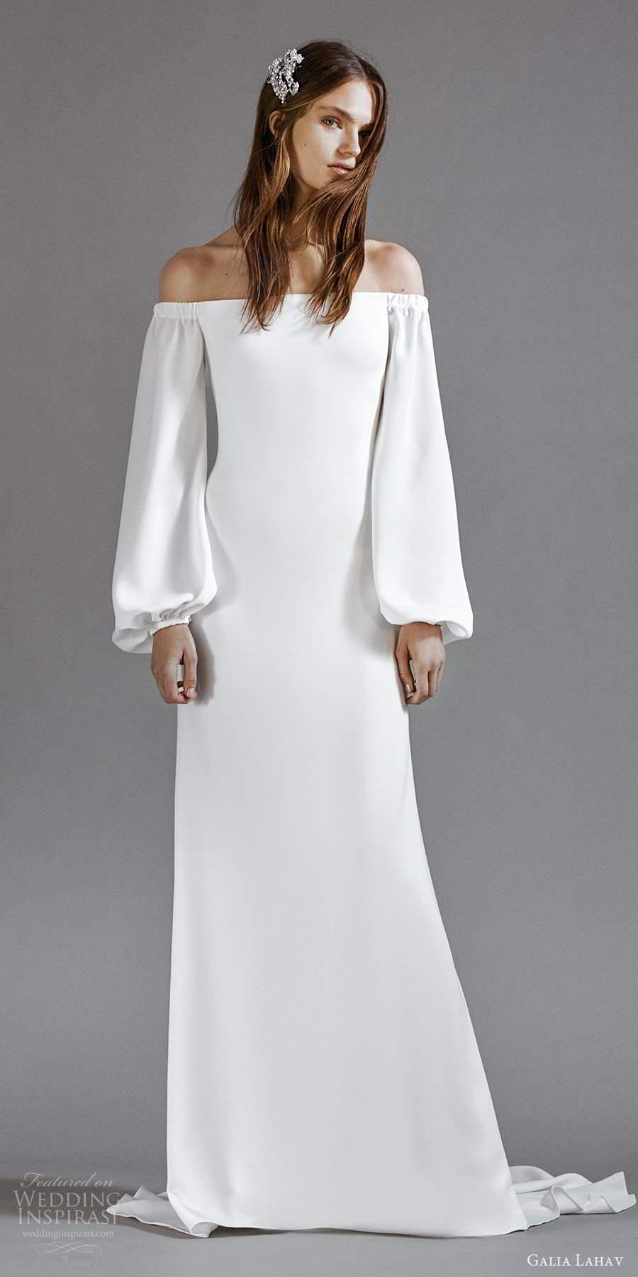 galia lahav 2021 rtw bridal long bishop sleeveso off shoulder straight across neckline clean minimalist modified a line wedding dress sweep train (7) mv