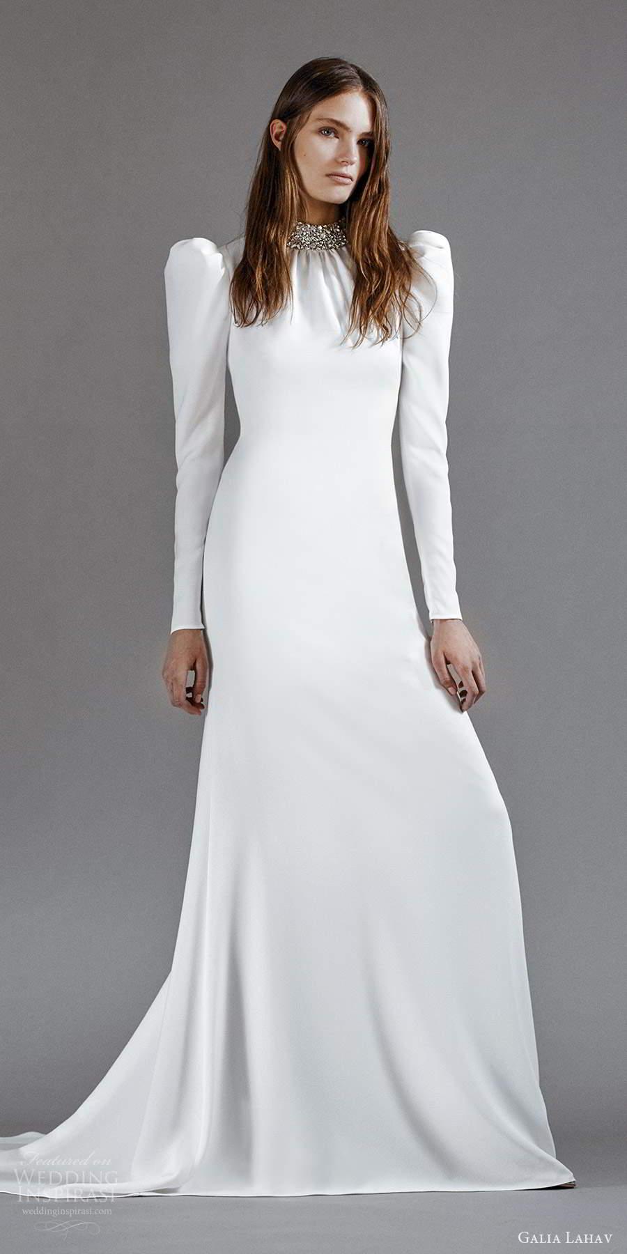 galia lahav 2021 rtw bridal long puff sleeves embellished high neckline clean minimalist sheath column a line wedding dress chapel train (6) mv