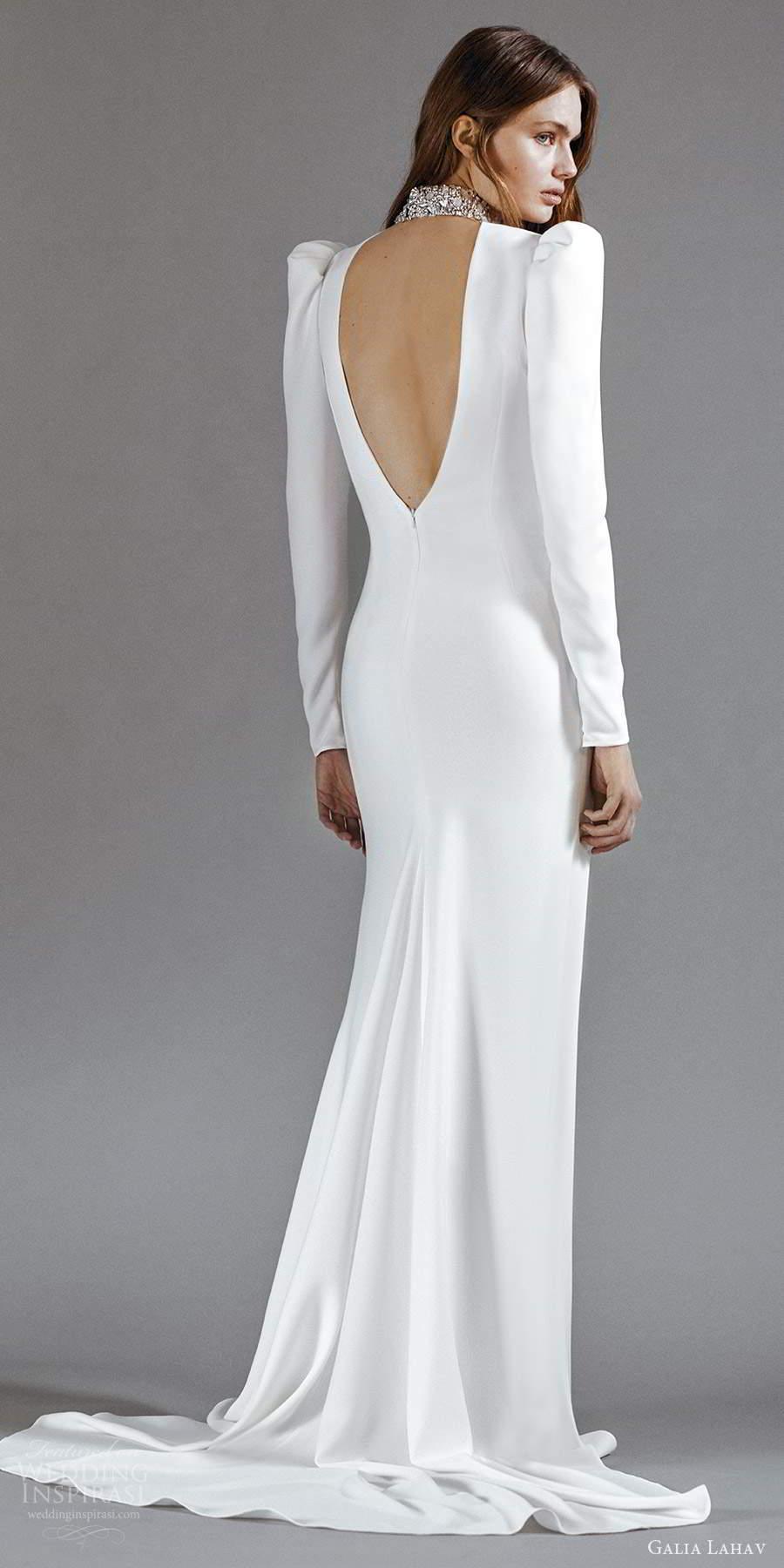 galia lahav 2021 rtw bridal long puff sleeves embellished high neckline clean minimalist sheath column a line wedding dress chapel train keyhole back (6) bv