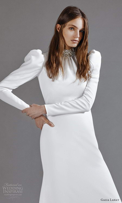 galia lahav 2021 rtw bridal long puff sleeves embellished high neckline clean minimalist sheath column a line wedding dress chapel train keyhole back (6) zv
