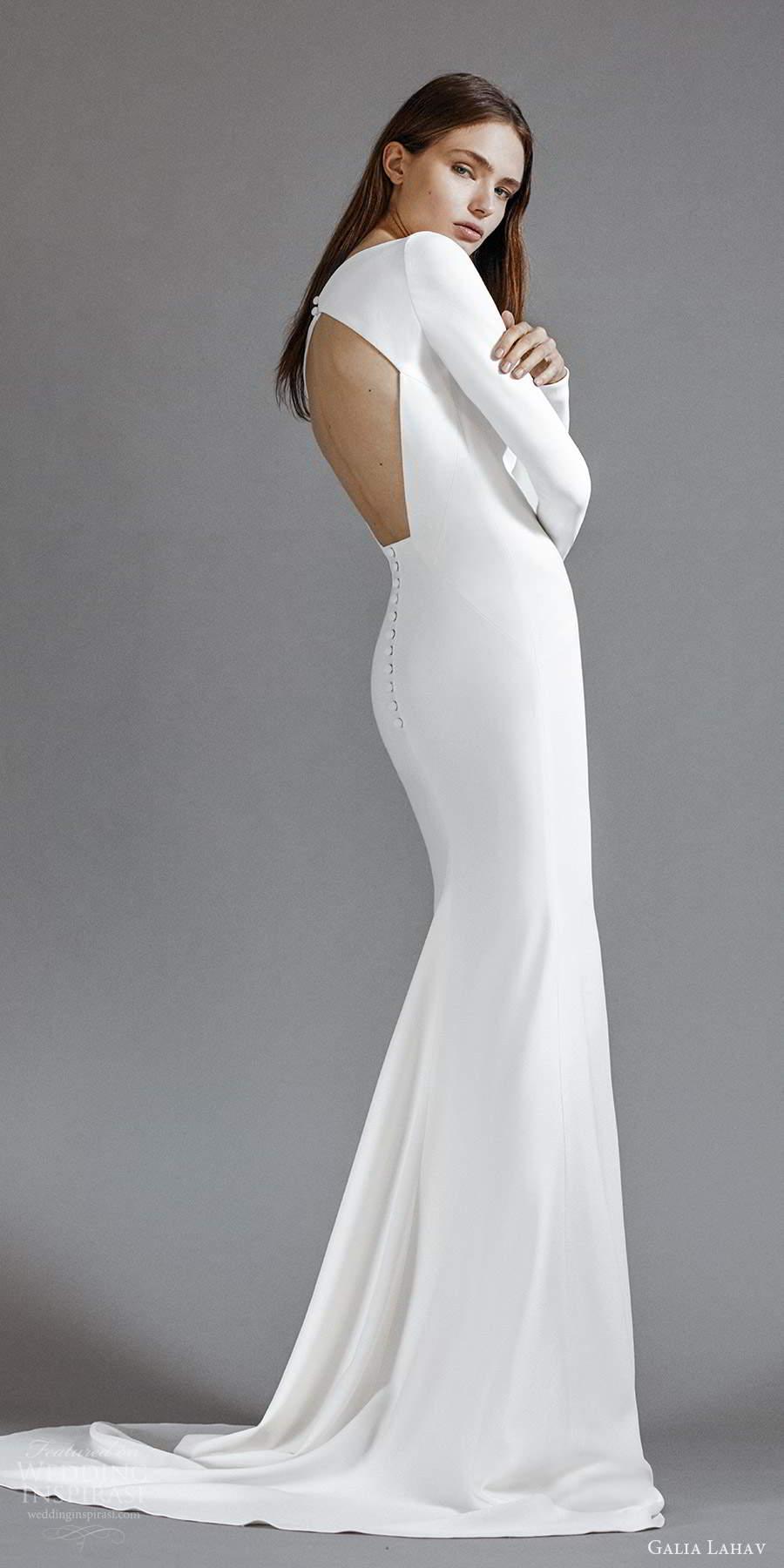 galia lahav 2021 rtw bridal long sleeves bateau neckline clean minimalist sheath column a line wedding dress chapel train (4) bv
