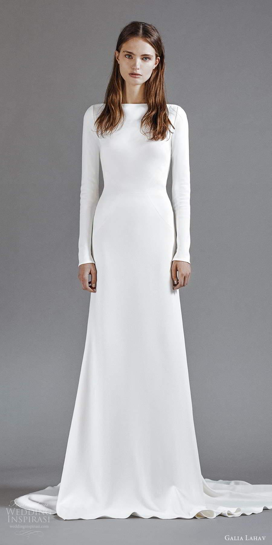 galia lahav 2021 rtw bridal long sleeves bateau neckline clean minimalist sheath column a line wedding dress chapel train (4) mv
