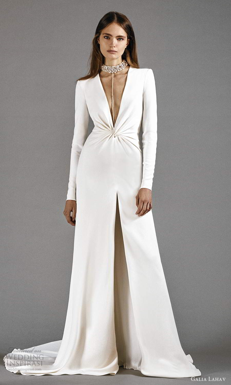 galia lahav 2021 rtw bridal long sleeves plunging v neckline clean minimalist column modified a line wedding dress chapel train (1) mv