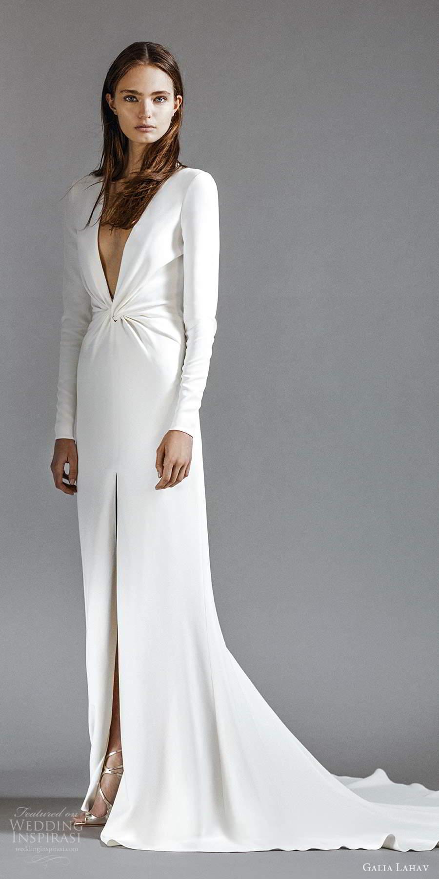 galia lahav 2021 rtw bridal long sleeves plunging v neckline clean minimalist column modified a line wedding dress chapel train (1) sv