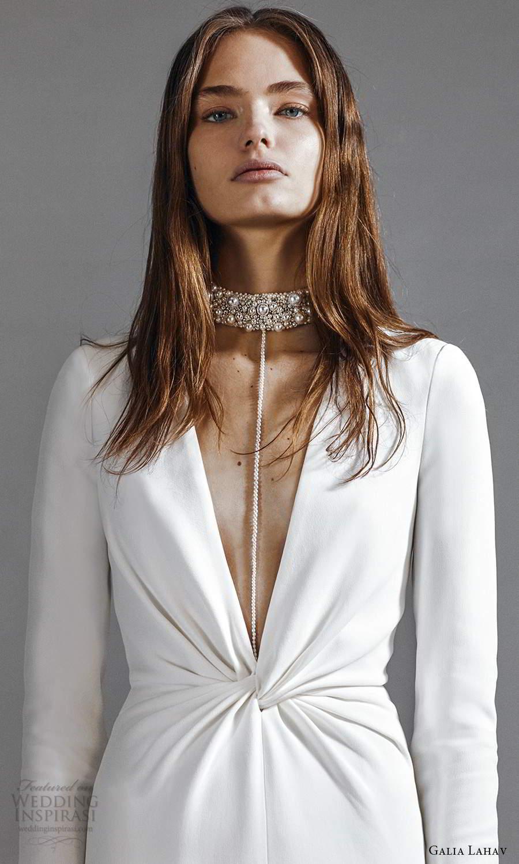galia lahav 2021 rtw bridal long sleeves plunging v neckline clean minimalist column modified a line wedding dress chapel train (1) zv