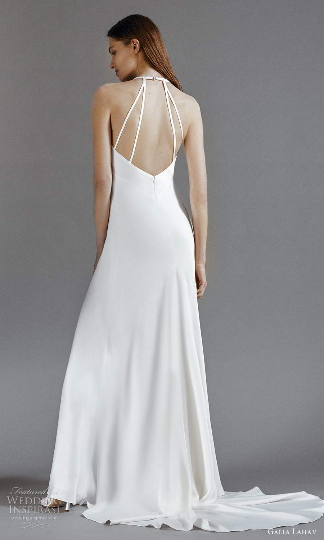 galia lahav 2021 rtw bridal sleeveless double straps v neckline clean minimalist a line wedding dress slit skirt chapel train (5) bv