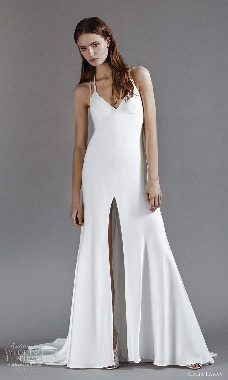 galia lahav 2021 rtw bridal sleeveless double straps v neckline clean minimalist a line wedding dress slit skirt chapel train (5) mv