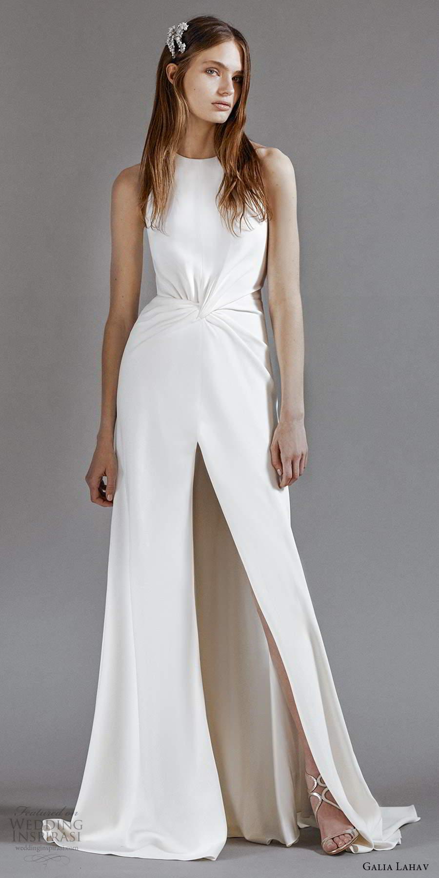 galia lahav 2021 rtw bridal sleeveless jewel neckline ruched waist clean minimalist a line wedding dress slit skirt sweep train (10) mv