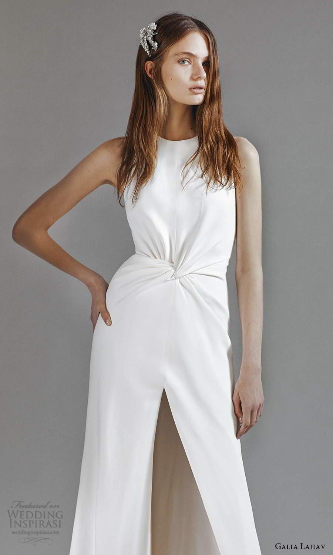 galia lahav 2021 rtw bridal sleeveless jewel neckline ruched waist clean minimalist a line wedding dress slit skirt sweep train (10) zv