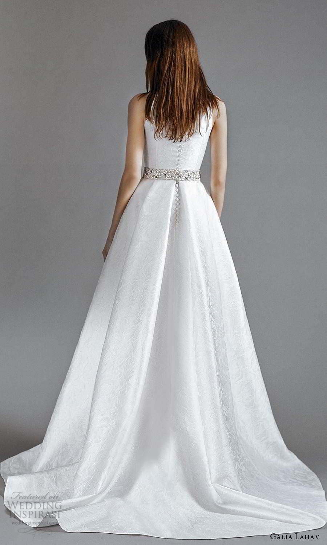 galia lahav 2021 rtw bridal sleeveless straps jewel neckline clean minimalist mini short wedding dress floor length overskirt sweep train (8) bv