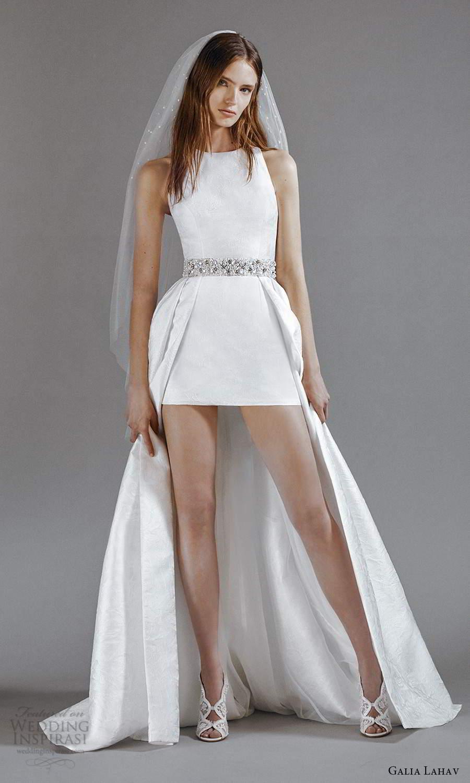 galia lahav 2021 rtw bridal sleeveless straps jewel neckline clean minimalist mini short wedding dress floor length overskirt sweep train (8) mv
