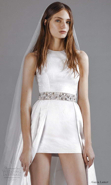 galia lahav 2021 rtw bridal sleeveless straps jewel neckline clean minimalist mini short wedding dress floor length overskirt sweep train (8) zv