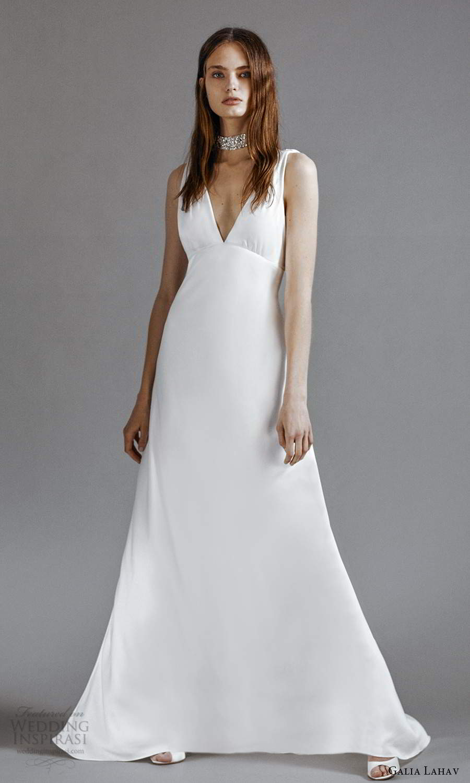 galia lahav 2021 rtw bridal sleeveless straps v neckline clean minimalist empire a line wedding dress chapel train (9) mv