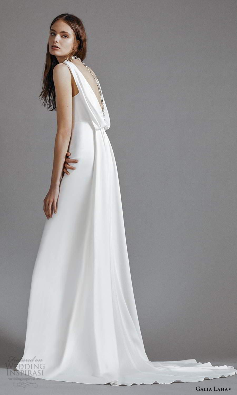 galia lahav 2021 rtw bridal sleeveless straps v neckline clean minimalist empire a line wedding dress chapel train (9) sv