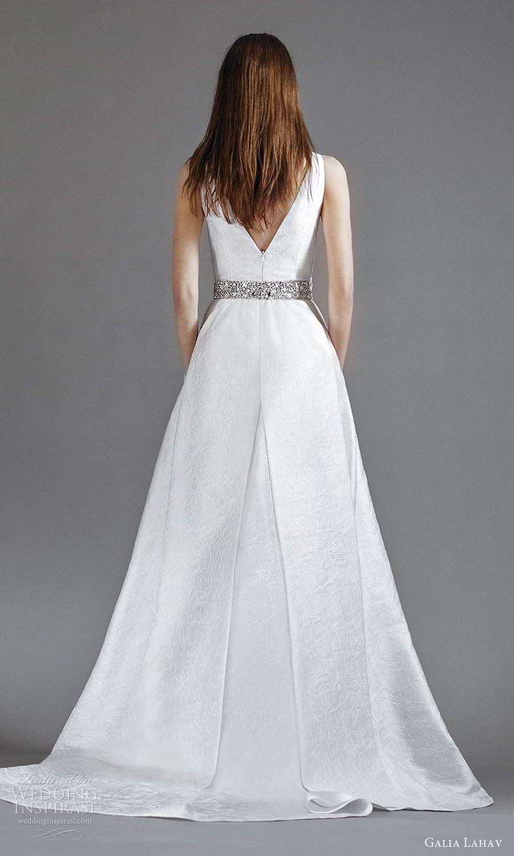 galia lahav 2021 rtw bridal sleeveless thick straps v neckline clean minimalist a line ball gown wedding dress slit skirt sweep skirt (3) bv