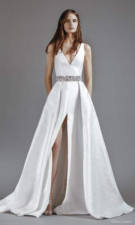galia lahav 2021 rtw bridal sleeveless thick straps v neckline clean minimalist a line ball gown wedding dress slit skirt sweep skirt (3) mv