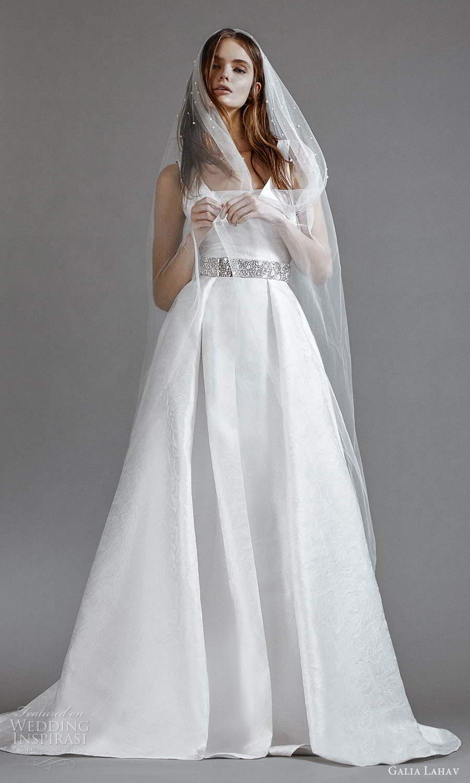 galia lahav 2021 rtw bridal sleeveless thick straps v neckline clean minimalist a line ball gown wedding dress slit skirt sweep skirt veil (3) mv