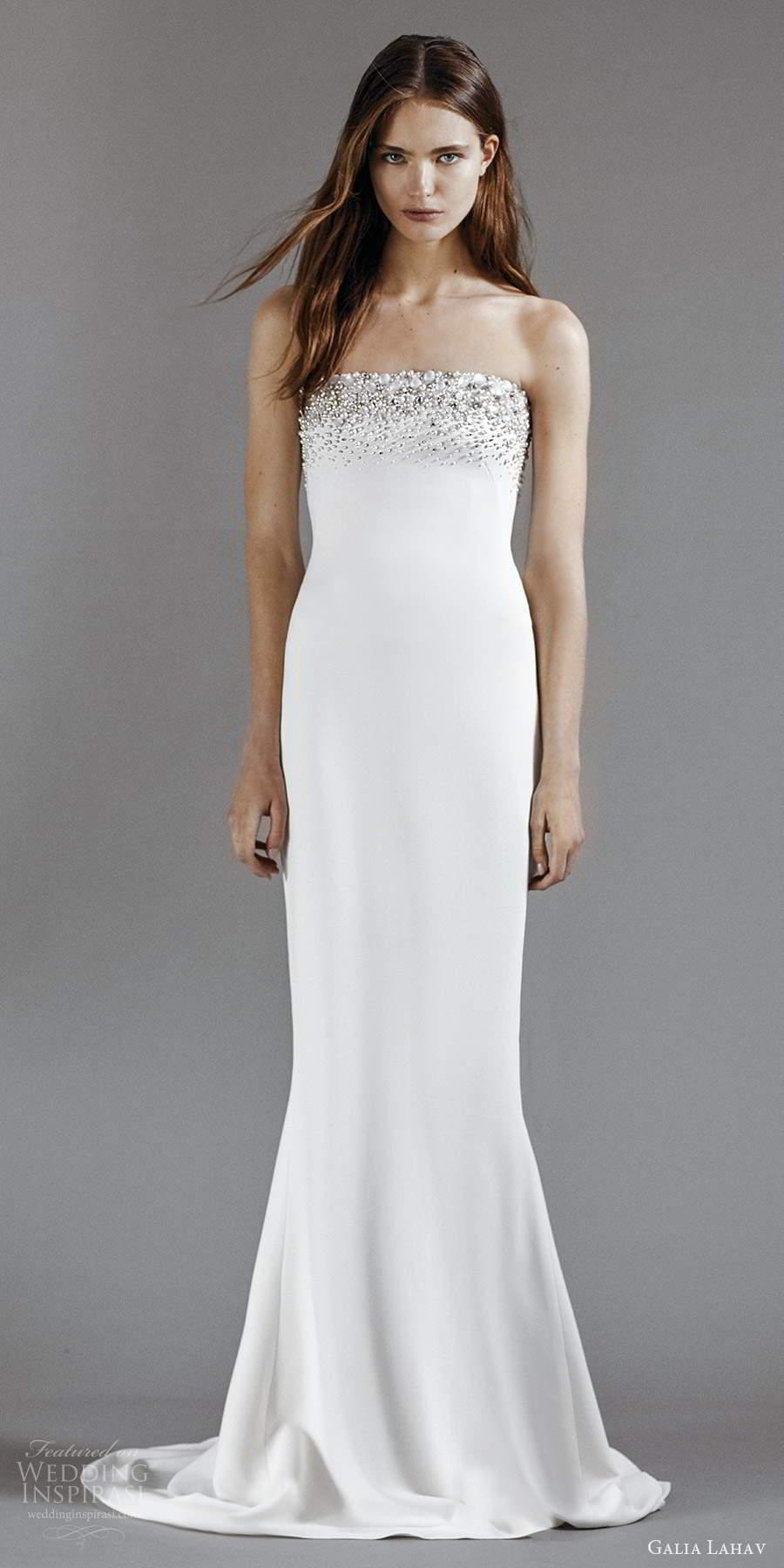 galia lahav 2021 rtw bridal strapless straight across embellished neckline clean minimalist sheath wedding dress chapel train (2) mv