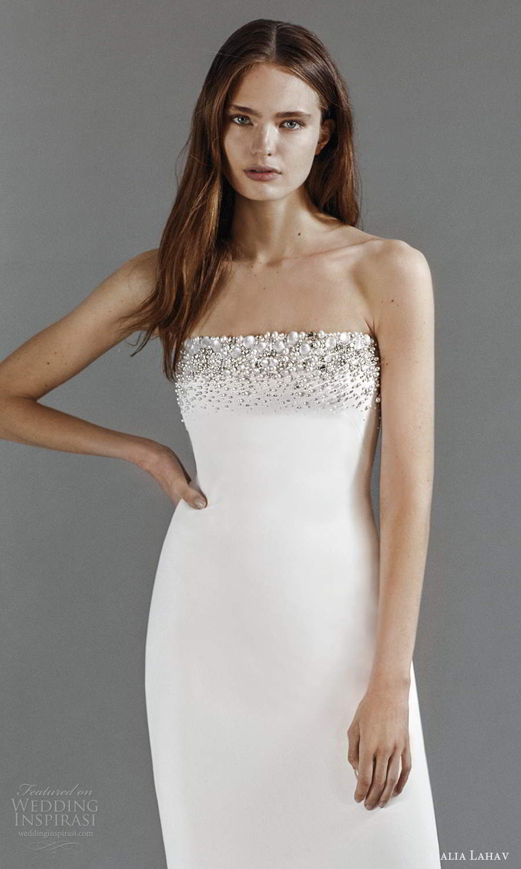 galia lahav 2021 rtw bridal strapless straight across embellished neckline clean minimalist sheath wedding dress chapel train (2) zv