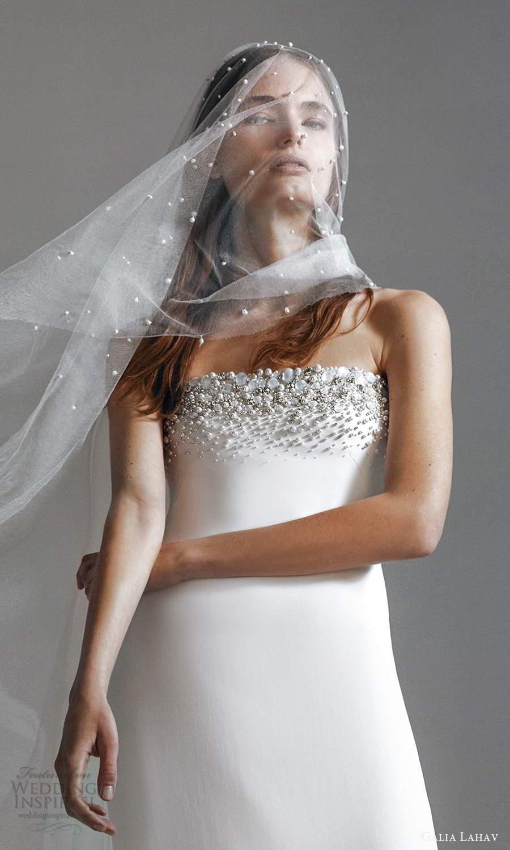 galia lahav 2021 rtw bridal strapless straight across embellished neckline clean minimalist sheath wedding dress chapel train  veil (2) zv