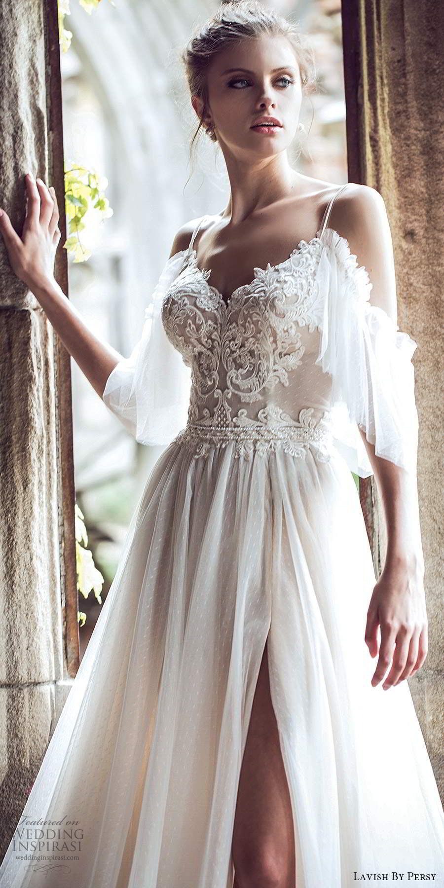 lavish by persy fall 2020 bridal cold shouder half sleeves straps sweetheart neckline embellished bodice a line ball gown wedding dress (4) mv