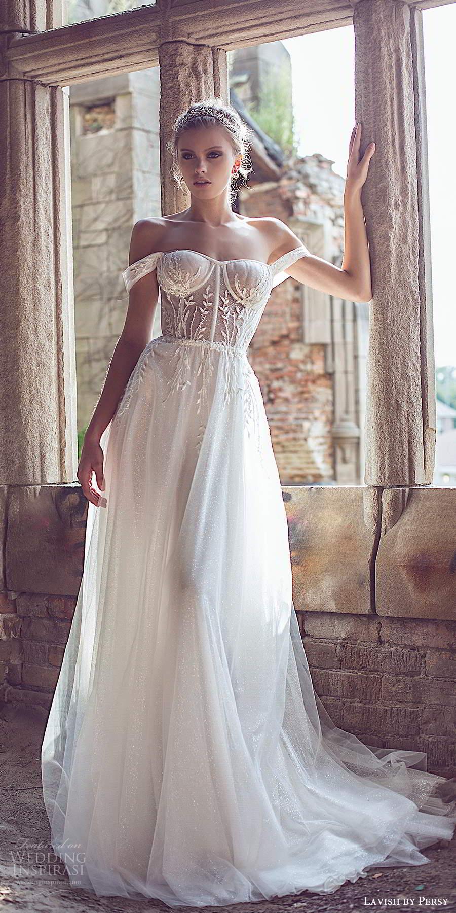 lavish by persy fall 2020 bridal off shoulder straps semi sweetheart neckline sheer embellished bodice a line ball gown wedding dress chapel train (1) mv
