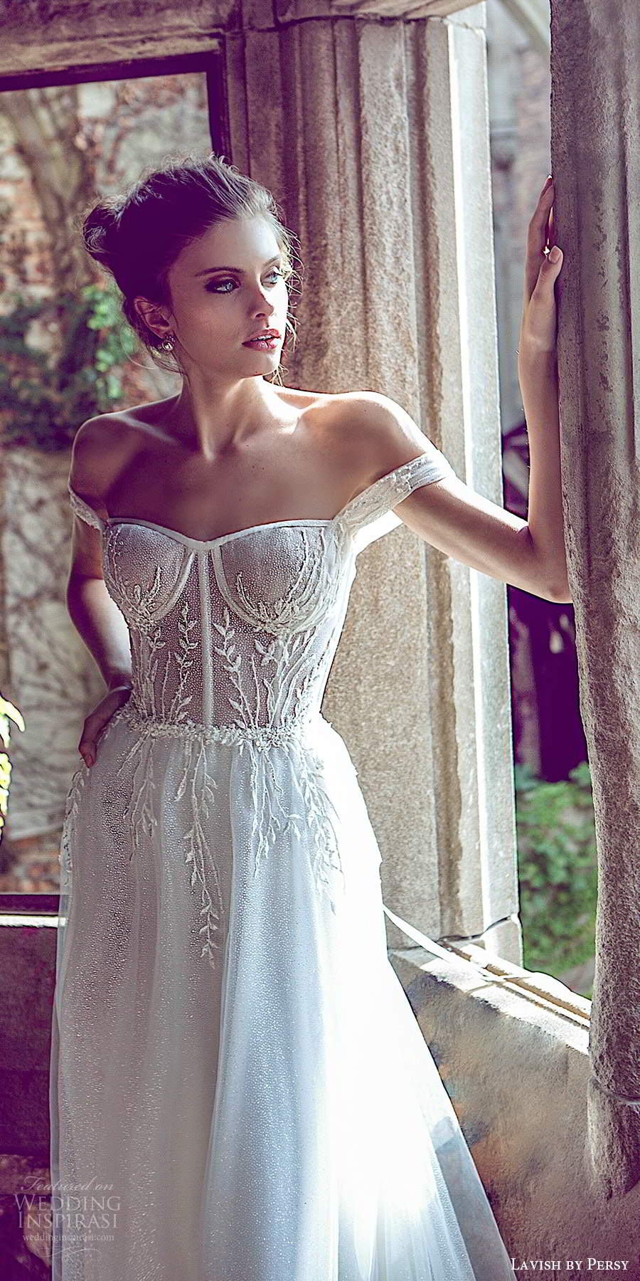 lavish by persy fall 2020 bridal off shoulder straps semi sweetheart neckline sheer embellished bodice a line ball gown wedding dress chapel train (1) zv