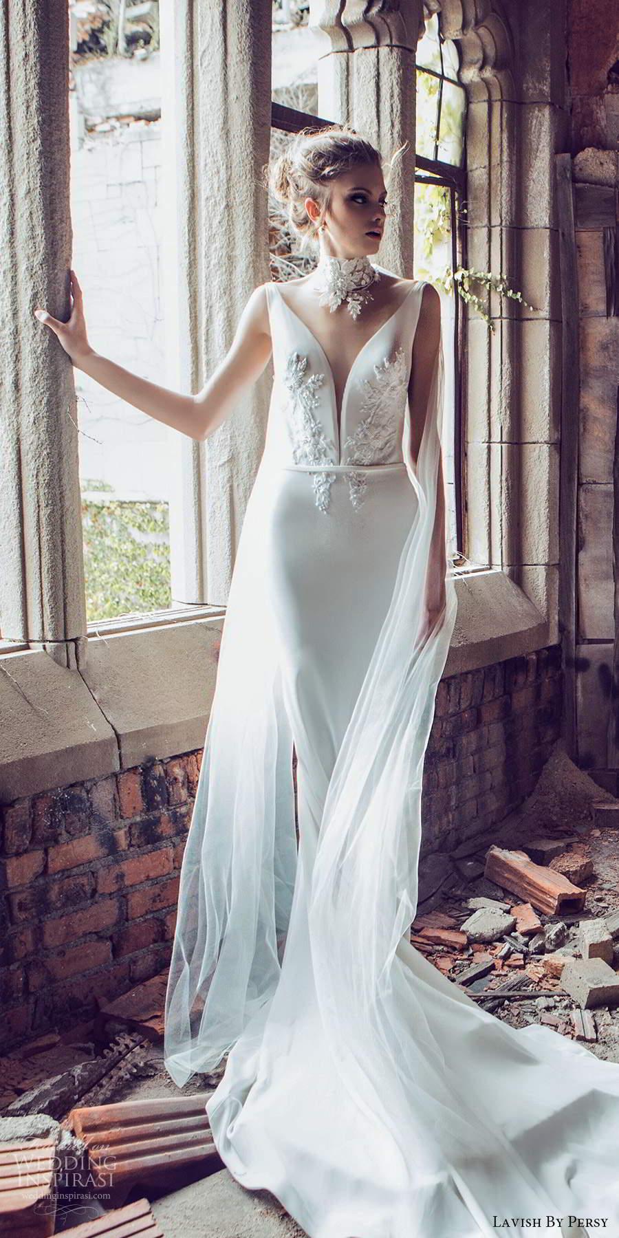 lavish by persy fall 2020 bridal sleeveless straps plunging v neckline embellished bodice sheath wedding dress chapel train (2) mv