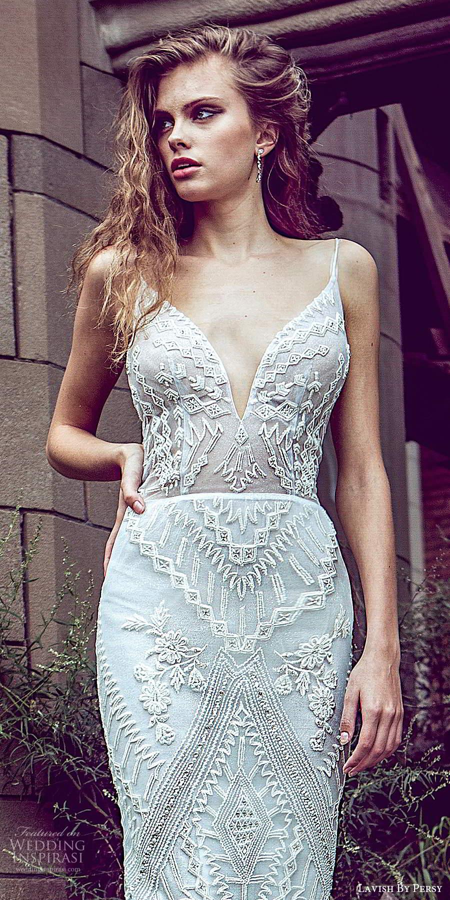 lavish by persy fall 2020 bridal sleeveless straps plunging v neckline fully embellished sheath column wedding dress chapel train (5) zv