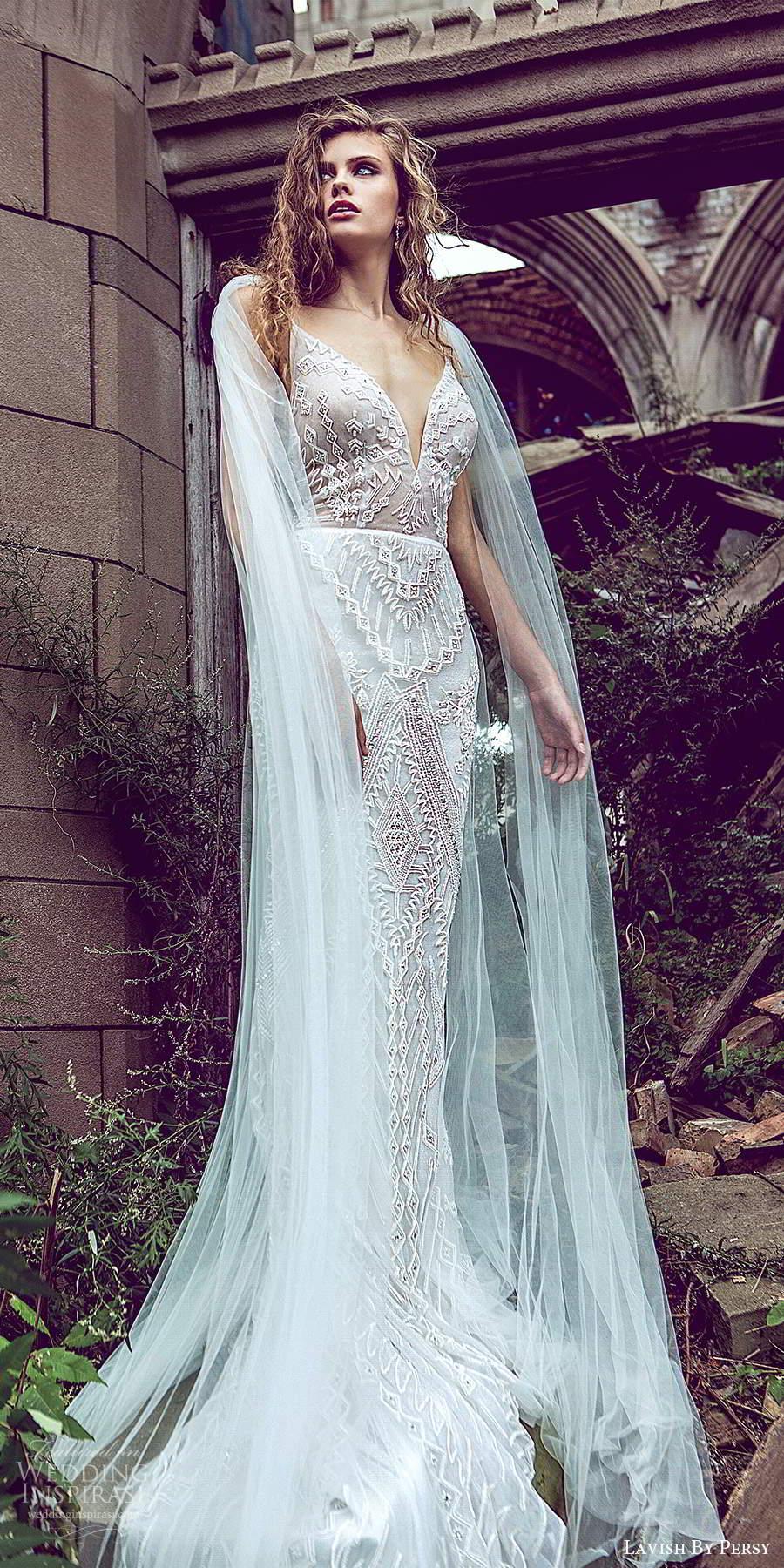 lavish by persy fall 2020 bridal sleeveless straps plunging v neckline fully embellished sheath column wedding dress chapel train cape (5) mv
