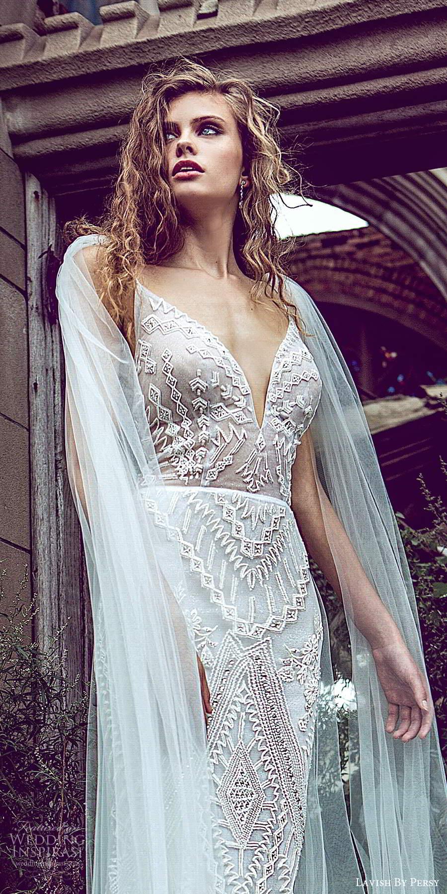 lavish by persy fall 2020 bridal sleeveless straps plunging v neckline fully embellished sheath column wedding dress chapel train cape (5) zv