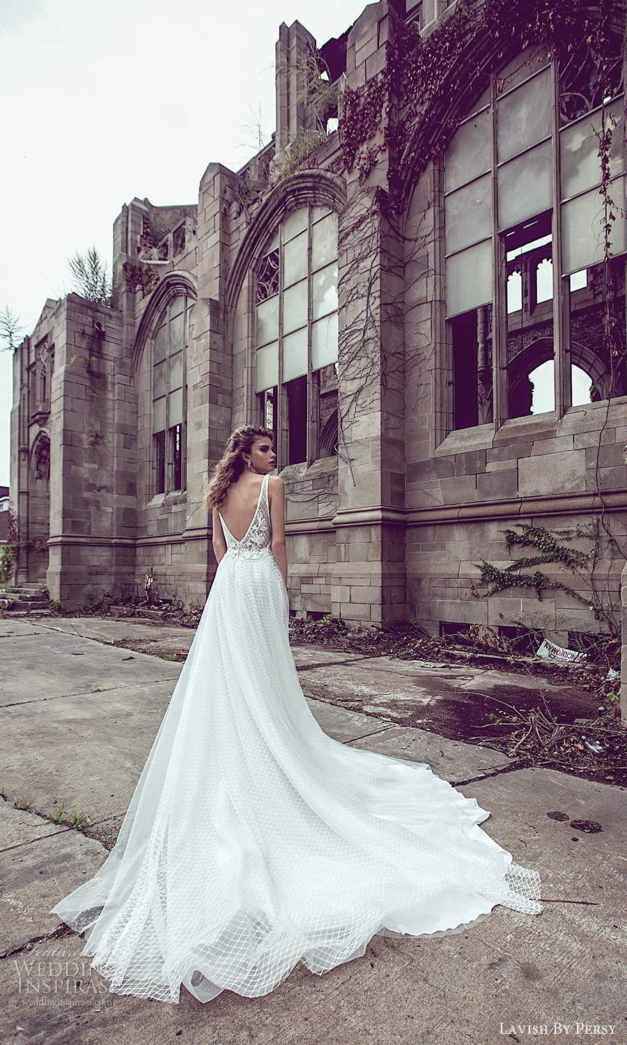 lavish by persy fall 2020 bridal sleeveless thick straps plunging v neckline fully embellished a line ball gown wedding dress chapel train v back (6) bv