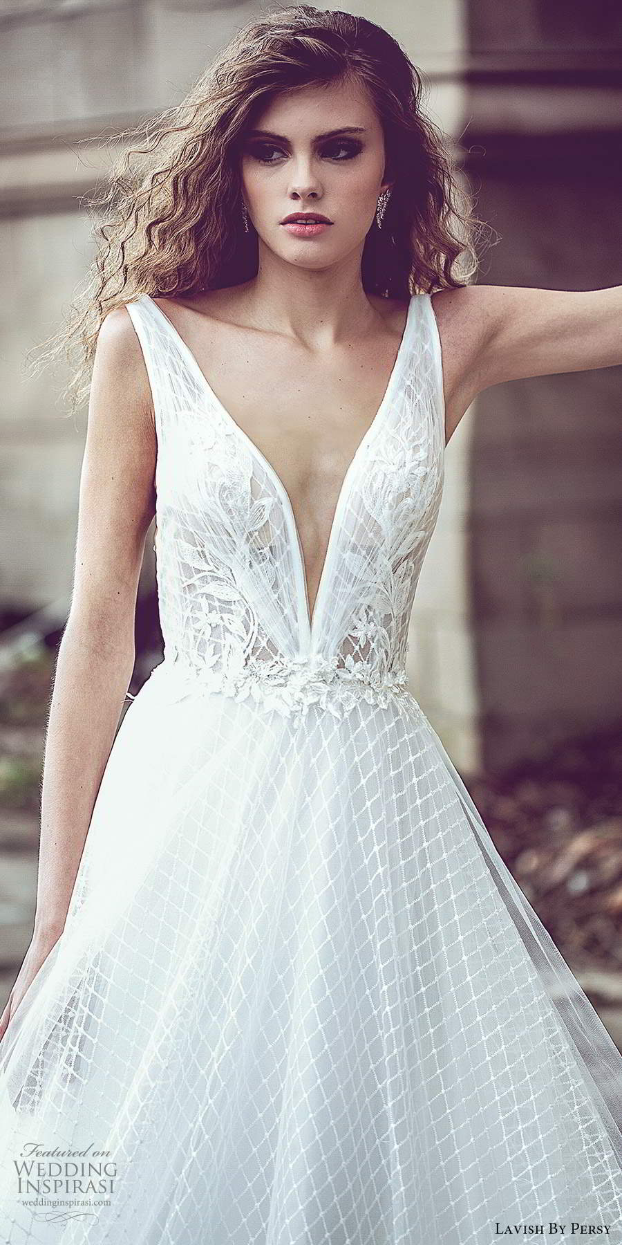 lavish by persy fall 2020 bridal sleeveless thick straps plunging v neckline fully embellished a line ball gown wedding dress chapel train v back (6) mv