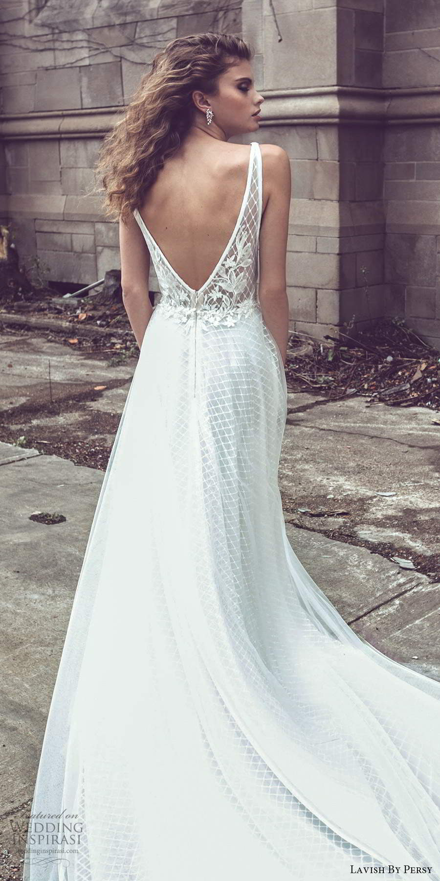 lavish by persy fall 2020 bridal sleeveless thick straps plunging v neckline fully embellished a line ball gown wedding dress chapel train v back (6) zbv