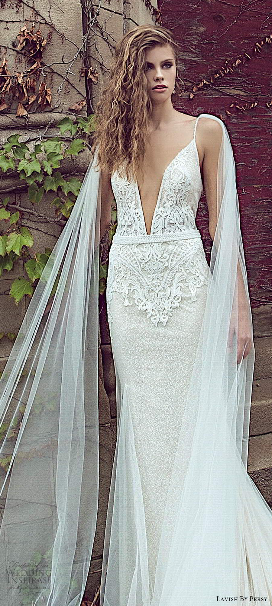 lavish by persy fall 2020 bridal sleeveless thin straps plunging neckline embellished bodice fit flare sheath wedding dress chapel train (3) lv