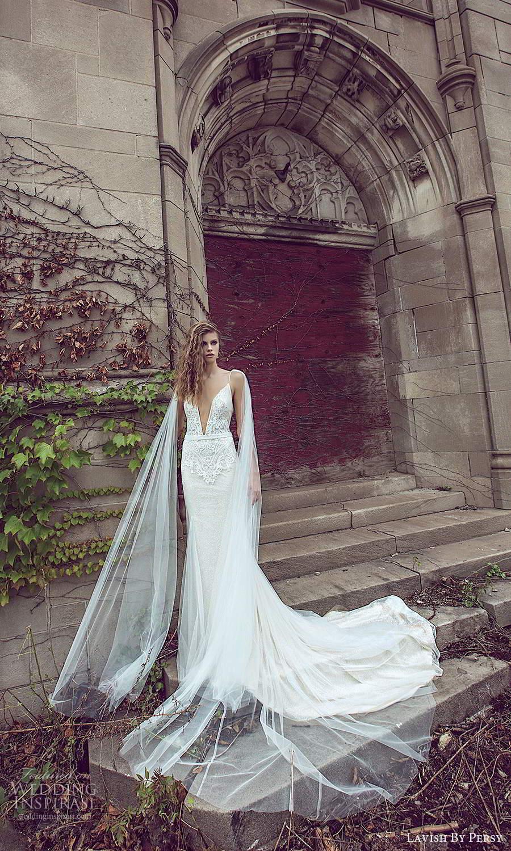 lavish by persy fall 2020 bridal sleeveless thin straps plunging neckline embellished bodice fit flare sheath wedding dress chapel train (3) mv