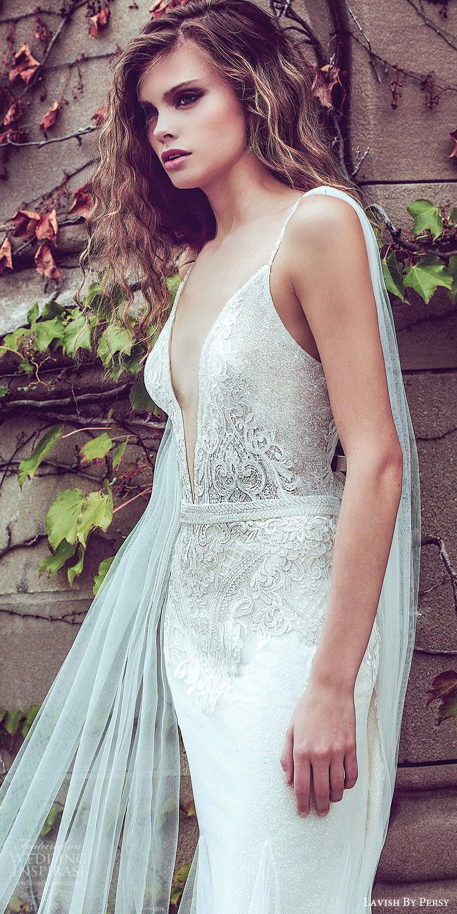 lavish by persy fall 2020 bridal sleeveless thin straps plunging neckline embellished bodice fit flare sheath wedding dress chapel train (3) zv