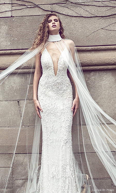 lavish by persy fall 2020 bridal sleeveless thin straps plunging v neckline fully embellished sheath wedding dress high neck cape (8) mv