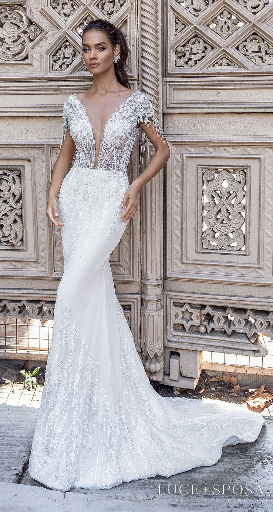 luce sposa s2021 istanbul bridal cap sleeves deep plunging v neck heavily embellished bodice glamorous elegant fit and flare wedding dress  backless chapel train (destiny) mv