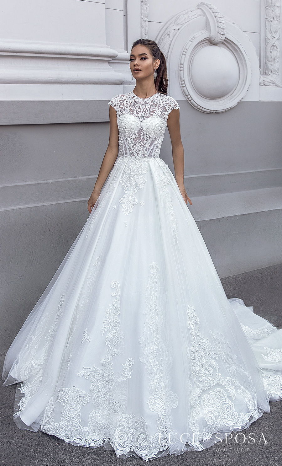 luce sposa s2021 istanbul bridal cap sleeves jewel neckline heavily embellished bodice romantic a  line wedding dress covered lace back chapel train (guslina) mv